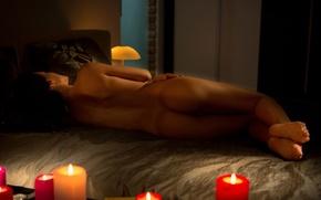 Wallpaper the evening, candles, girl, Nude, model, sapphira a
