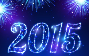 Picture salute, New Year, blue, New Year, fireworks, Happy, sparkle, 2015