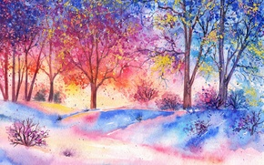 Picture forest, trees, watercolor, painted landscape