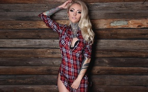Picture decoration, pose, wall, Board, makeup, figure, piercing, tattoo, hairstyle, blonde, shirt, beauty, sexy, body art, ...