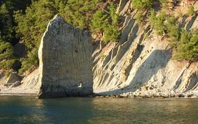 Picture sea, mountains, rocks, sail