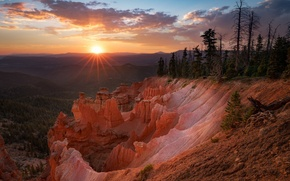 Picture the sun, rays, sunset, canyon, USA