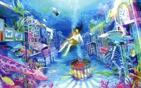 Picture water, fish, bubbles, books, sleep, corals, giraffe, girl, carousel, art, imagination, cabinets, sailor, fuzichoco (fujiwara)