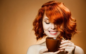 Picture girl, smile, coffee, morning, red