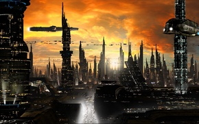 Picture clouds, the city, lights, future, building, road, ships, tower, skyscrapers, sci-fi, planet, ships, cityscape, towers, ...