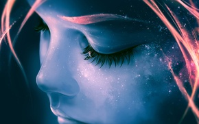 Picture the sky, girl, stars, face, eyelashes, Space, galaxy, girl, facial features