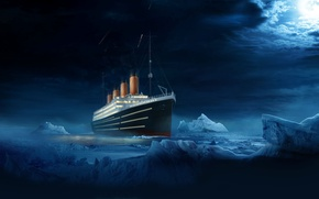 Picture Water, Clouds, Night, Liner, Iceberg, Titanic, The ship, The end, Titanic