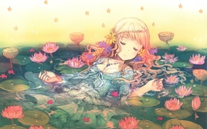Picture water, sleep, girl, Lotus, stars, long hair, closed eyes