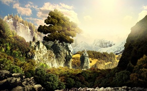 Picture forest, mountains, temple