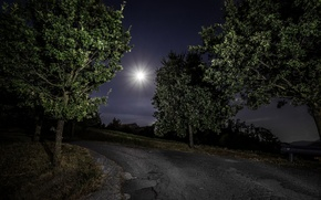 Picture road, night, nature
