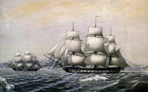 Picture East, Antarctica, . artist, Sloops, Peace, . 1820год, M. M. Semenov, the coast