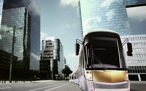 Picture building, tram
