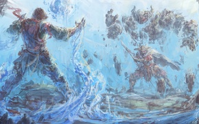 Picture water, stones, weapons, magic, armor, Battle, Golem, witchcraft, the Atronach