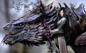 Picture zipper, dragon, Girl