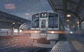 Picture snow, Japan, train, station, 5 centimeters per second