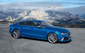 Picture the sky, mountains, blue, background, Audi, Audi, Performance, Sportback, RS7