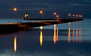 Picture night, lights, pierce, channel, Falsterbo