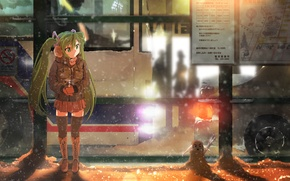 Picture winter, girl, snow, night, lights, map, being, snowman, bus, drink, vocaloid, hatsune miku, stop