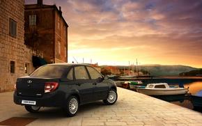 Picture the evening, Bay, black, Lada, Lada, Granta, Grant, Wallpaper background, sedan