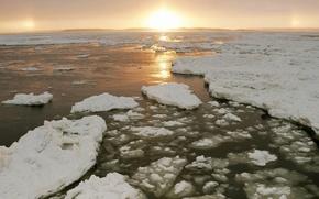 Wallpaper water, the sun, Ice