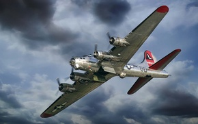 Picture the plane, fortress, bomber, American, Boeing, heavy, B-17, WW2., Flying, times, four-engine, Flying Fortress, metal