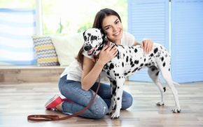 Picture girl, mood, dog, Dalmatian, dog, dalmatian
