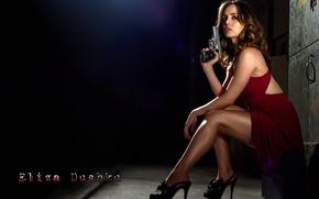 Picture girl, house, gun, actress, shoes, brown hair, legs, in red, Eliza Dushku, Eliza Dushku, Dollhouse, …