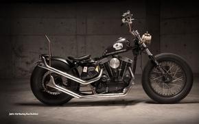 Picture black, moto, Harley Davidson, Rat Bobber