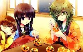 Picture girls, window, kimono, green hair, art, friend, tangerines, eye patch, kotatsu, Cornelian