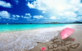 Picture sand, beach, love, romance, heart, figure, love, beach, sea, i love you, umbrella, romantic, sand, …