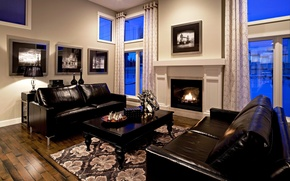 Picture design, style, room, sofa, black, interior, fireplace, leather