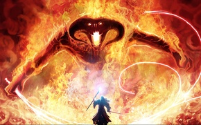 Picture magic, monster, sword, the Lord of the rings, art, MAG, staff, Balrog, Gandalf, whip, the …