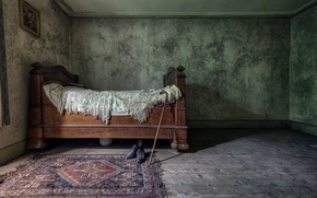Picture room, bed, shoes, cane