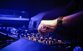 Picture music, dark, light, white, amplifier, black, box, sound, blue, man, purple, hands, mixer, rave, bracelet, …