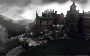 Picture the sky, clouds, castle, the evening, tower, Interceptor, game wallpapers, Rise of the Triad