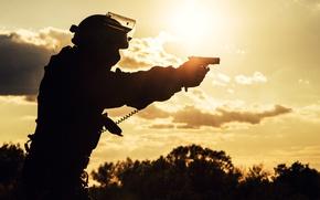 Wallpaper gun, blur, silhouette, fighter, bokeh, special forces, wallpaper., special forces, spetsnaz, the military situation, ammunition, ...