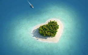 Picture sea, trees, nature, island, Love, yacht