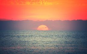 Picture sea, sunset, orange sky, horizon clouds