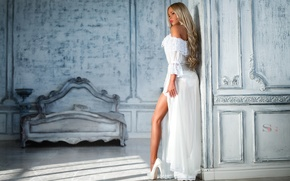 Wallpaper makeup, figure, dress, hairstyle, blonde, shoes, leg, in white, photographer, chic, Sergey Alexandrov