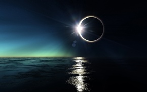 Picture sea, the sun, the ocean, white, round, The moon, black, Eclipse
