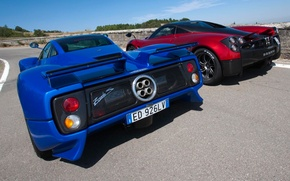 Picture supercars, To huayr, red, rear view, Wire, Pagani, Probe, the sky, Pagani, blue, Zonda