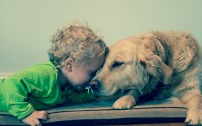 Picture mood, dog, child