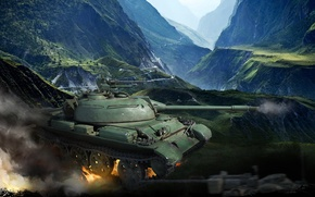 Picture landscape, mountains, rocks, fire, smoke, tank, gorge, Chinese, World of Tanks, easy, Type 62