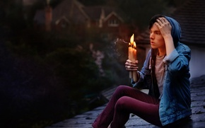 Picture roof, background, candles, guy