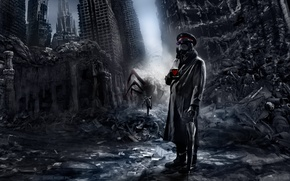 Wallpaper the city, chase, spider, art, mug, captain, ruins, romance of the Apocalypse, romantically apocalyptic, alexiuss