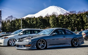 Picture car, mountains, Nissan, grey, japan, Nissan, jdm, silvia, Sylvia, s14