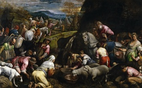 Picture picture, genre, mythology, Jacopo Bassano, The Israelites Drinking The Miraculous Water, history, people