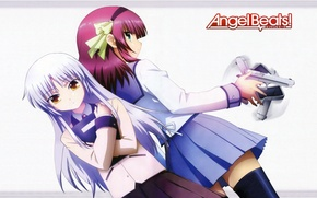 Picture weapons, girls, Kanade Tachibana, Angel Beats, Nakamura Yuri