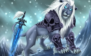 Picture cold, look, snow, weapons, magic, sword, Leo, art, mane, skull, armor