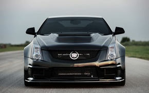 Picture Cadillac, Black, Logo, Cadillac, Lights, CTS-V, Hennessey, The front